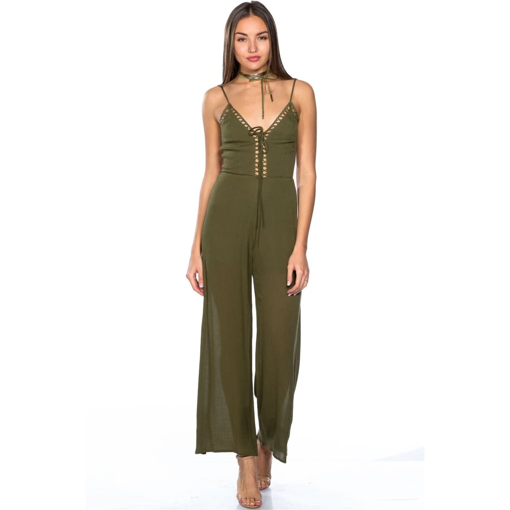 Women lattice plunge cage jumpsuit jumpsuit