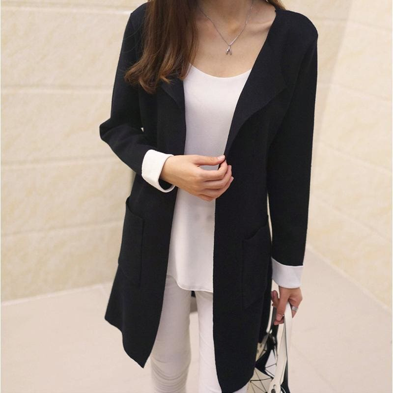 Women Long Cardigan Autumn Winter Outerwear Coat In 4 Colors Black / S Fall Sweater