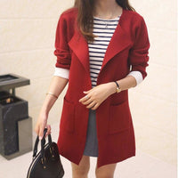 Women Long Cardigan Autumn Winter Outerwear Coat In 4 Colors Burgundy / S Fall Sweater