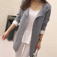 Women Long Cardigan Autumn Winter Outerwear Coat In 4 Colors Gray / S Fall Sweater