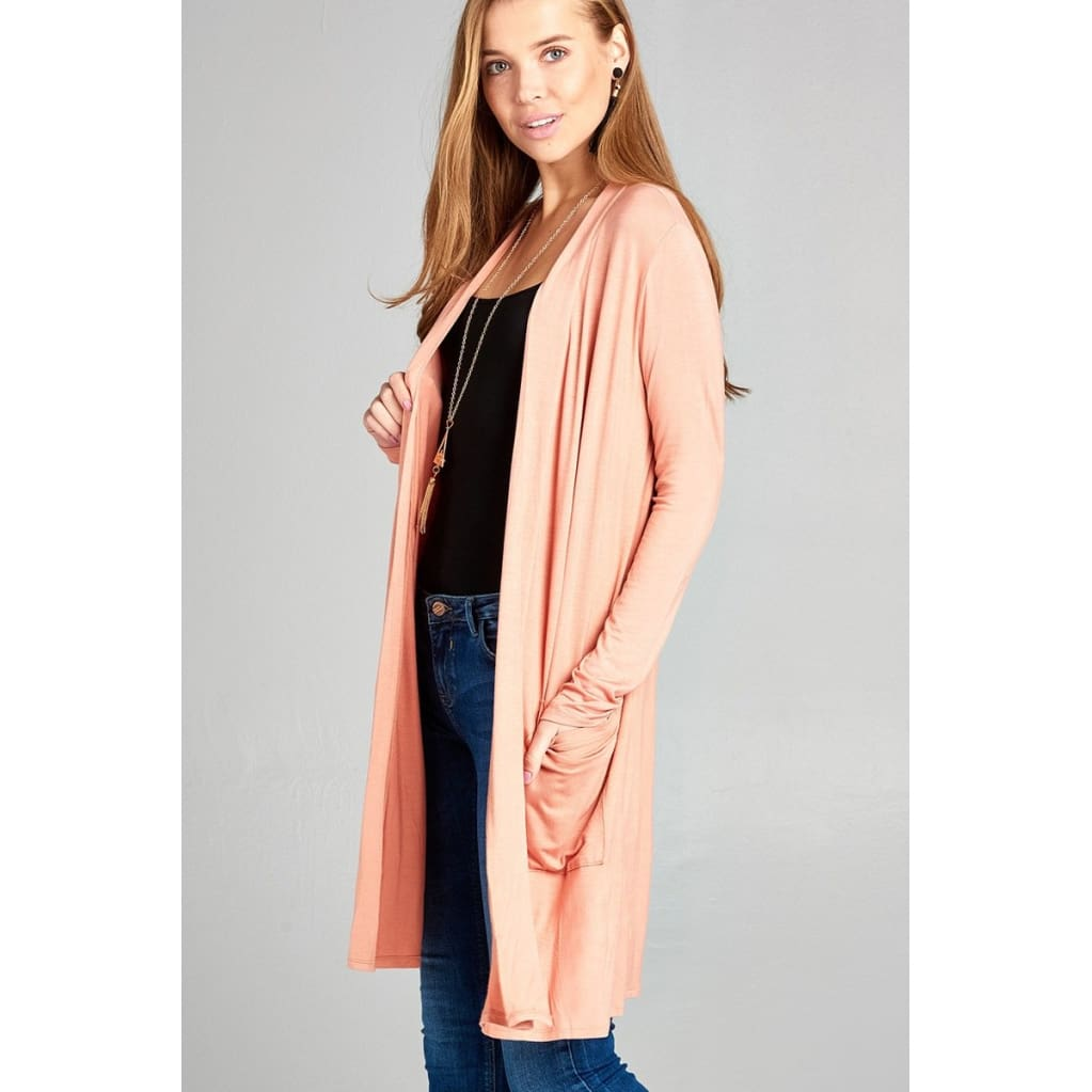Women Long Sleeve Open Front W/pocket Long Length Cardigan Outwear