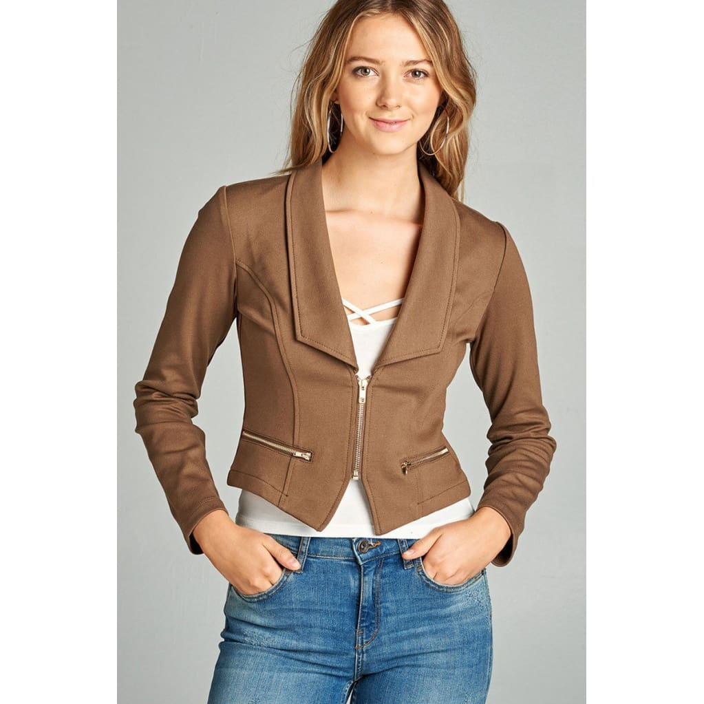 Women Long Sleeve Zip Front Blazer Tops