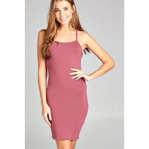 Women Low-Cut Scoop Neckline Back Open W/strappy Mini Dress Dresses