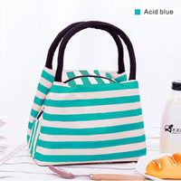 Women Lunch Bag Insulated Canvas Cooler Bag 4 Colors Acid Blue Lunch Bag