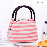 Women Lunch Bag Insulated Canvas Cooler Bag 4 Colors Pink Lunch Bag