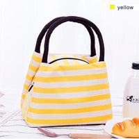 Women Lunch Bag Insulated Canvas Cooler Bag 4 Colors Yellow Lunch Bag