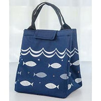 Women Lunch Bag Large Capacity Insulated Canvas Cooler Bag 4 Colors Blue Lunch Bag