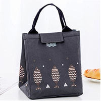 Women Lunch Bag Large Capacity Insulated Canvas Cooler Bag 4 Colors Dark Gray Lunch Bag