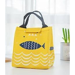 Women Lunch Bag Large Capacity Insulated Canvas Cooler Bag 4 Colors Yellow Lunch Bag