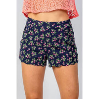 Women Navy Floral Print Scalloped Hem Shorts Shorts