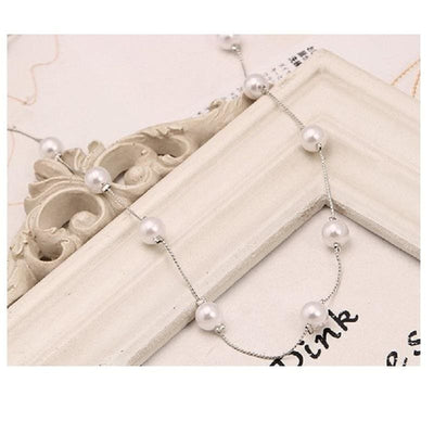 Women Necklace 13Pcs Imitation Pearl Necklace Silver Color Chain Necklace