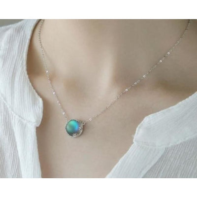 Women Necklace 925 Silver Halo Crystal Gemstone Pendant Necklace Fine Necklace