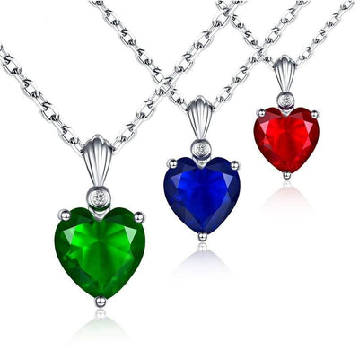 Women Necklace 925 Sterling Silver Heart Solitaire Pendant Fine Necklace
