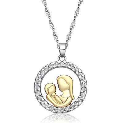 Women Necklace Alloy Gold Silver Circle Pendant Chain Necklace 2 Colors Necklace