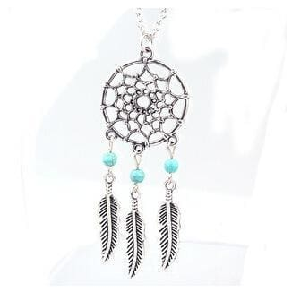 Women Necklace Bohemian Style Feather Wings Shaped Long Pendant Necklace 2 Styles 2 Necklace