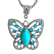 Women Necklace Butterfly Design Natural Stone Link Chain Pendants Necklace