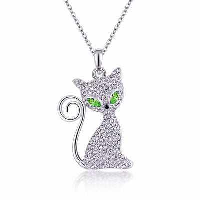 Women Necklace Cute Cat Long Pendant Austrian Crystal Chain Statement Accessories 3 Colors Necklace