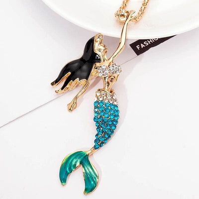 Women Necklace Enamel Crystal Mermaid Long Chain Necklaces 3 Colors Necklace