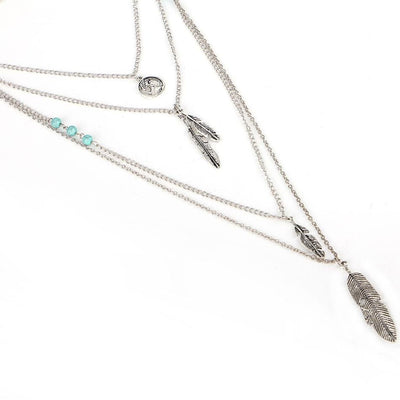 Women Necklace Feather Vintage Multilayer Statement Necklaces Necklace