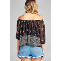 Women Off The Shoulder With Floral Border Print Chiffon Woven Top Tops