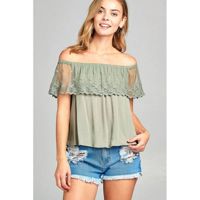 Women Off The Shoulder W/lace Ruffle Crinkle Gauze Woven Top Tops