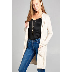 Women Open Front W/pocket Long Cardigan Outwear