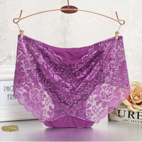 Women Panties Underwear Sexy Transparent Lace Seamless In 4 Colors Purple / L Panties