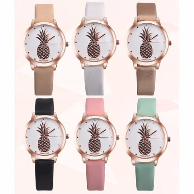 Women Pineapple Casual Rose Gold Dial Leather Band Analog Quartz Watch 7 Colors Women Watch