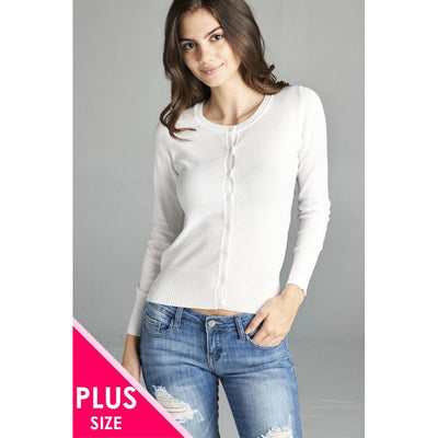 Women Plus 3/4 Sleeve Crew Neck Cardigan Sweater Plus Outwear