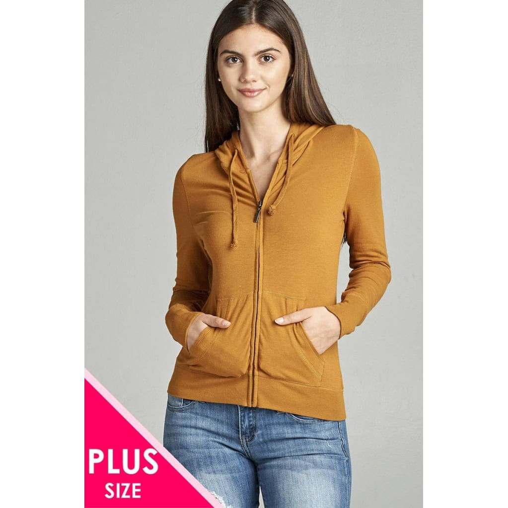 Women Plus Full Zip-Up Closure Hoodie W/long Sleeves And Lined Drawstring Hood Plus Outwear