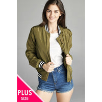 Women Plus Light Weight Bomber Jacket W/ Varsity Stripe Trim Plus Outwear