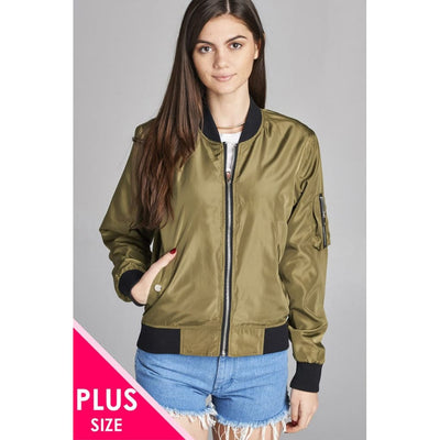 Women Plus Light Weight Bomber Jacket W/back Rib Contrast Plus Outwear