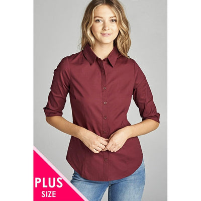 Women Plus Size 3/4 Sleeve Stretch Button Down Collar Shirts Plus Tops