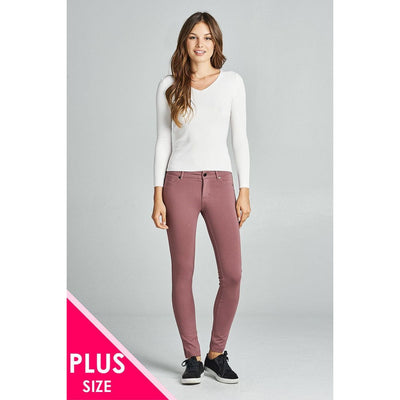 Women Plus Size 5-Pockets Shape Skinny Ponte Pants Plus Pants