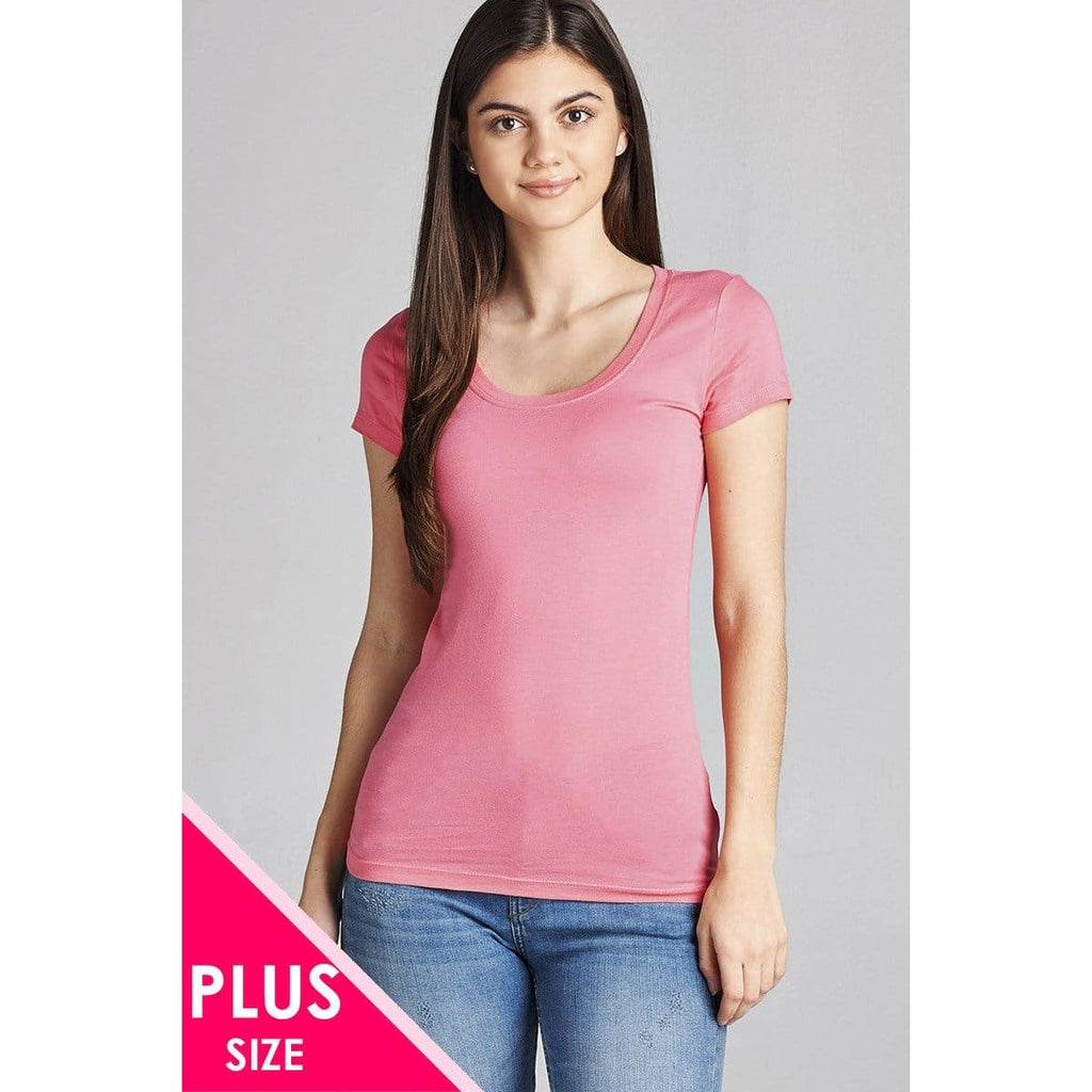 Women Plus Size Basic Short Sleeve Scoop Neck Tee Plus Tops