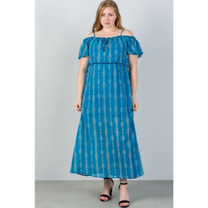 Women Plus Size Blue Cold Shoulder Maxi Dress Plus Dresses