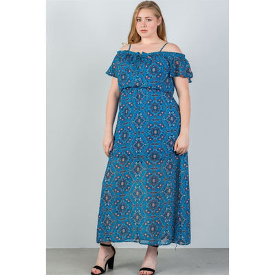 7c74c578d0b Women Plus Size Blue   Floral Print Cold Shoulder Maxi Dress Plus Dresses