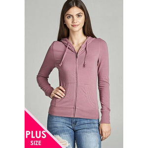 Women Plus Size Full Zip-Up Closure Hoodie W/long Sleeves And Lined Drawstring Hood Plus Outwear