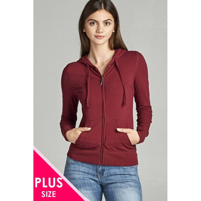 Women Plus Size Full Zip-Up Closure Hoodie W/long Sleeves And Lined Drawstring Hood Plus Tops