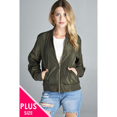 Women Plus Size Light Weight Bomber Jacket Plus Tops
