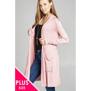 Women Plus Size Long Sleeve Open Front W/pocket Long Length Cardigan Plus Outwear