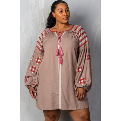 Women Plus Size Mocha Tribal Embroidered Long Sleeve Blouse W/ Tassel At Collar Plus Tops