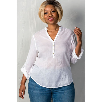 Women Plus Size Roll-Sleeve With Spike Button Detail V Neckline With Spike Top Plus Tops