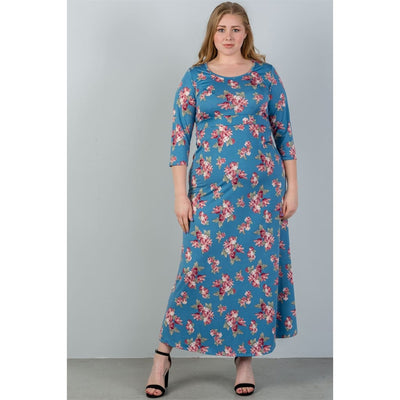 Women Plus Size Sky Blue & Floral Print Maxi Dress Plus Dresses