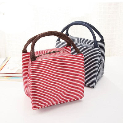 Women Portable Lunch Bag Canvas Stripe Insulated Cooler Bags In 4 Colors Lunch Bag