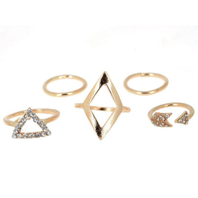 Women Ring 5 Pcs Above Knuckle Rhinestone Gold Color Midi Finger Tip Stack Rings 2 Colors Rings