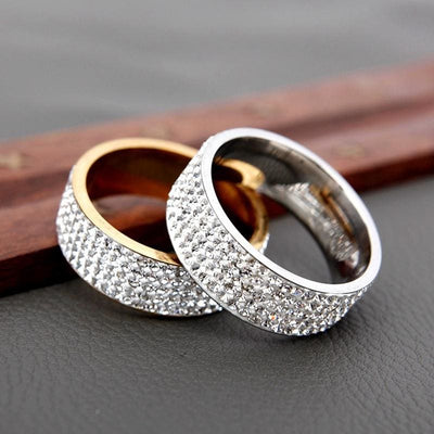 Women Ring 5 Row Lines Clear Crystal Rhinestone Stainless Steel Ring Rings