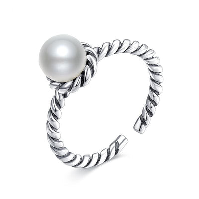 Women Ring 925 Sterling Silver Freshwater Pearl Braided Open Ring Fine Ring