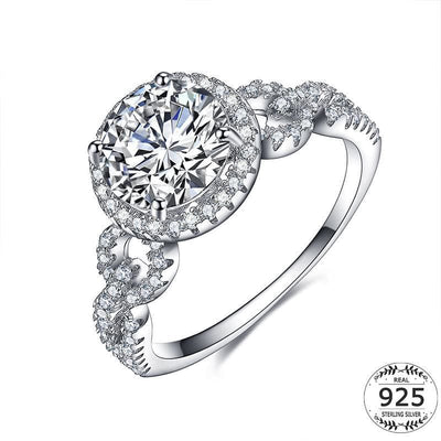 Women Ring 925 Sterling Silver White Gold Plated Cubic Zirconia Halo Cocktail Ring 5 Fine Ring