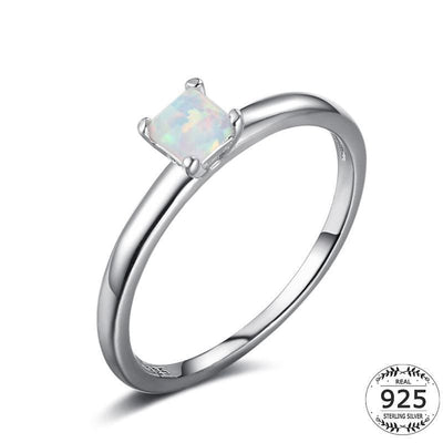 Women Ring 925 Sterling Silver White Gold Plated White Opal Square Ring 6 Fine Ring
